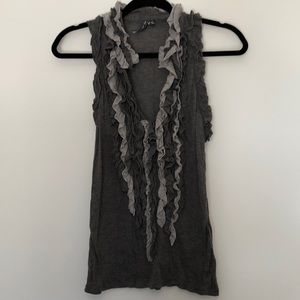 Anthropologie Grey Ruffled Low V-Cut Tank